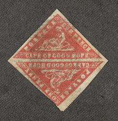 Cape of Good Hope: 1861, 4d. vermillion error of colour, in pair with 1d. vermillion, used.
